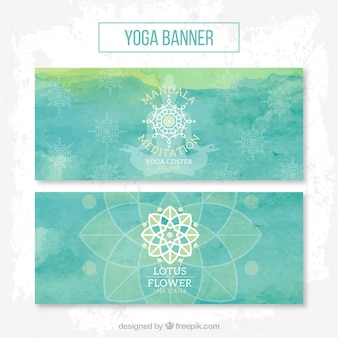 Blue watercolor lotus flower banners