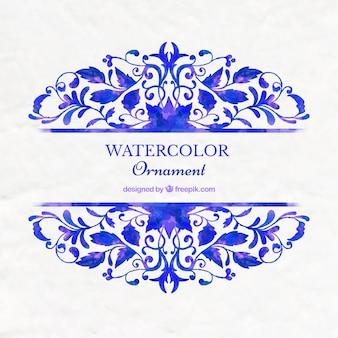 Blue watercolor ornamental background