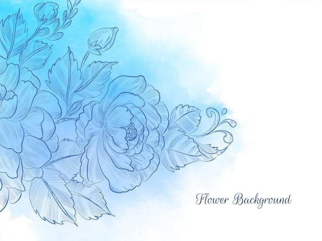 블루 수채화 파스텔 손으로 그린 꽃