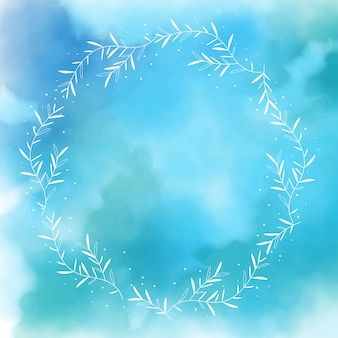 Blue watercolor splash background with white wreath frame
