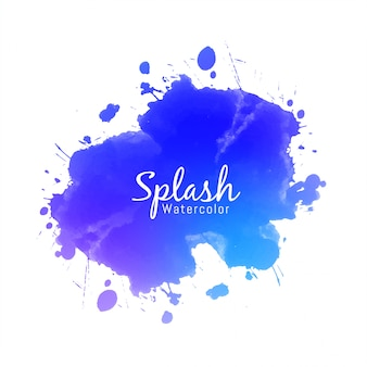 Blue watercolor splash design