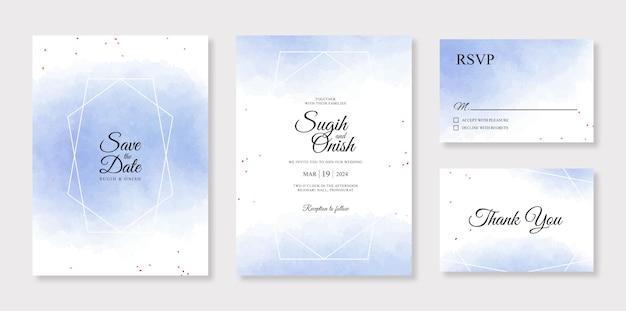 ミニマルな結婚式の招待カードテンプレートの青い水彩水しぶき