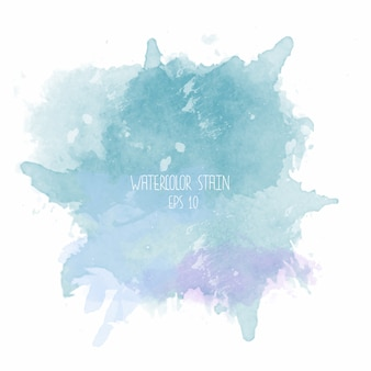 Blue watercolor stain on white background Premium Vector