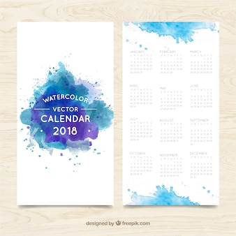 Blue watercolor stains 2018 calendar