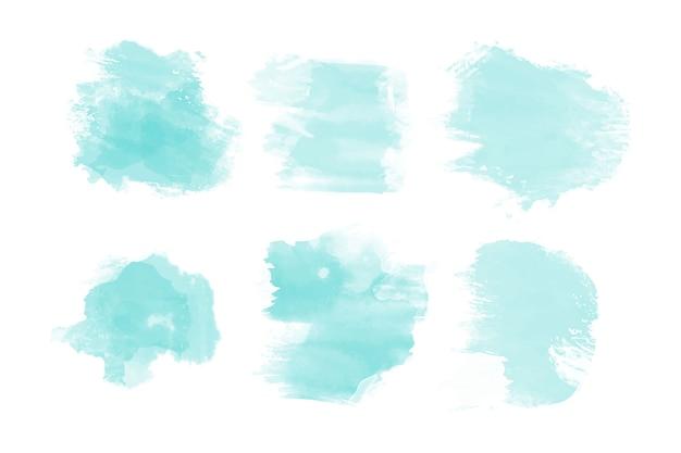 青い水彩汚れコレクション