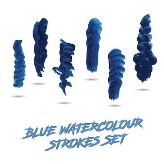 Blue watercolor strokes set