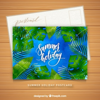 Blue watercolor summer card template with leaves