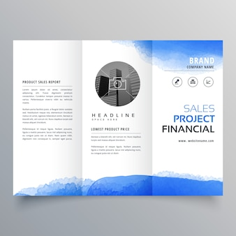 Blue watercolor trifold business brochure template
