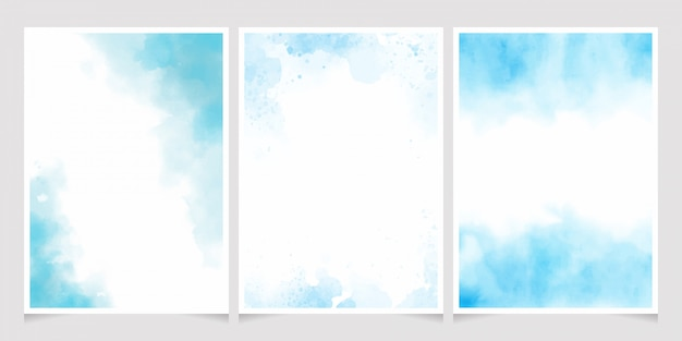 Blue watercolor wash splash with golden frame 5x7 invitation card template collection