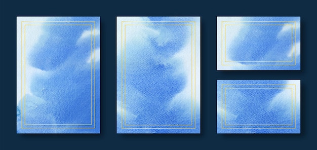 Blue watercolor wedding card templates with golden frame