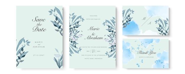 금색 반짝이와 선 장식이 있는 파란색 수채색 결혼식 초대 카드 템플릿입니다. 추상적 인 배경은 날짜, 초대장, 인사말 카드, 다목적 벡터를 저장합니다.