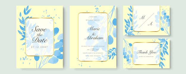 Blue watercolor wedding invitation card template set with gold glitter and line decoration. abstract background save the date, invitation, greeting card, multi-purpose vector