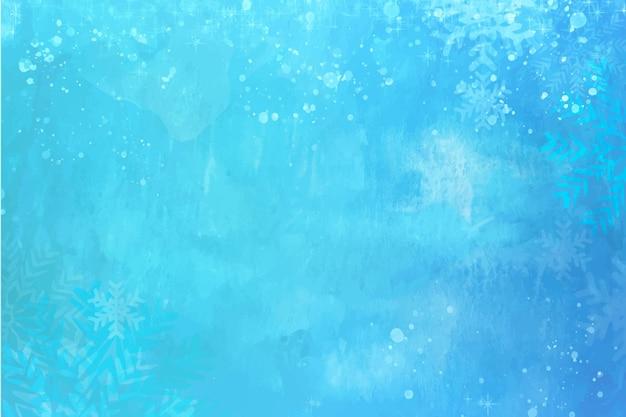 푸른 수채화 겨울 벽지