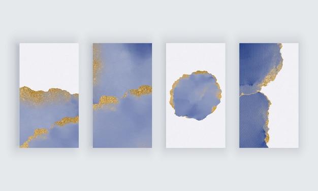 Синяя акварель с золотым блеском для баннеров в социальных сетях