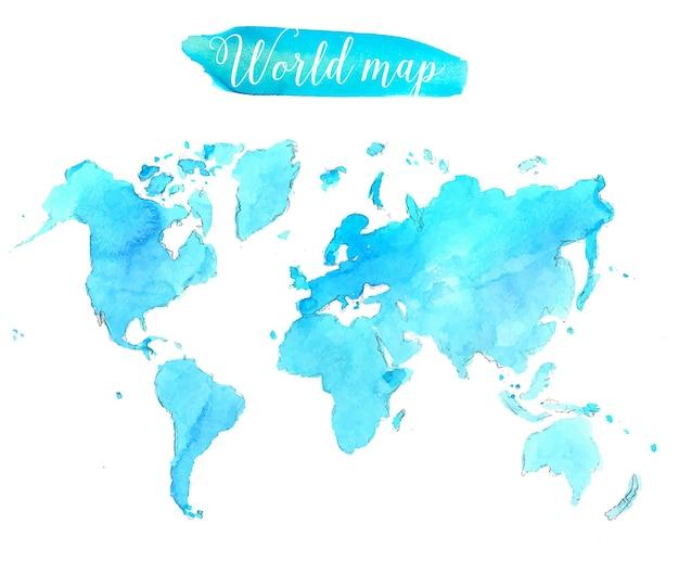 블루 수채화 세계 지도입니다. 벡터 예술적 그림입니다.