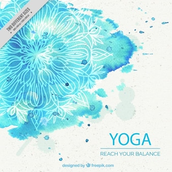Blue watercolor yoga background with mandala