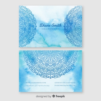 Blue watercolour business card template