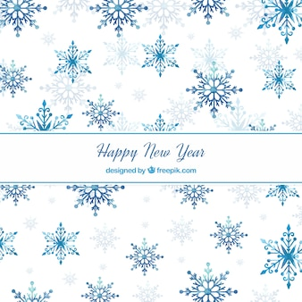 Blue watercolour new year 2018 background with snowflakes