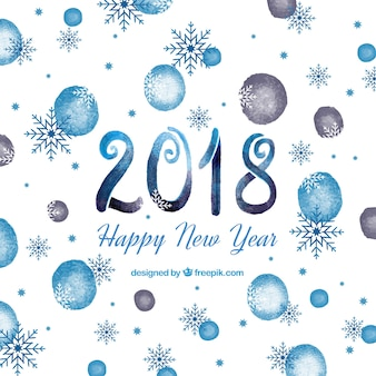 Blue watercolour new year 2018 background