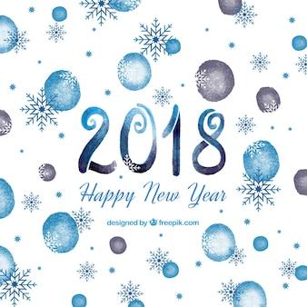 青い水彩の新年2018の背景