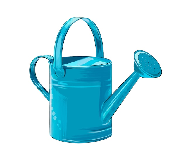 Blue watering can for watering flowers from multicolored paints splash of watercolor