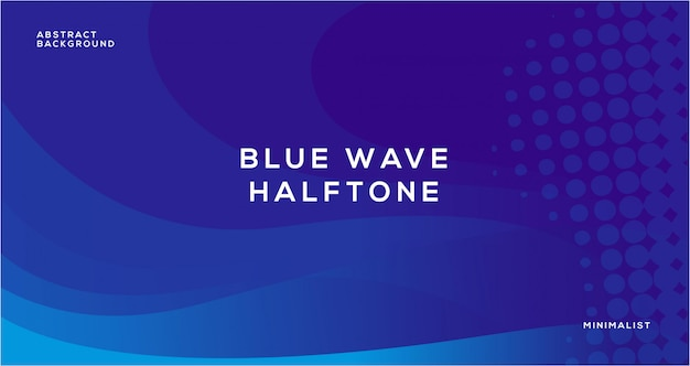 Blue wave abstract with halftone background