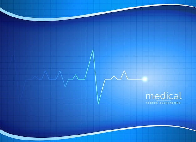 Blue wave background with electrocardiogram