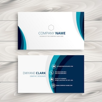 Blue wave business card design