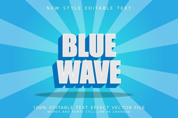 Редактируемый текстовый эффект синей волны с тиснением в винтажном стиле