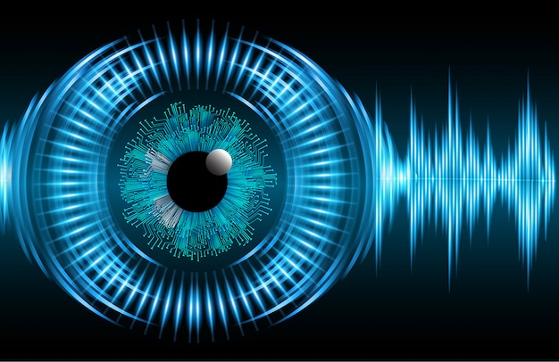 Blue wave eye cyber circuit future technology concept background