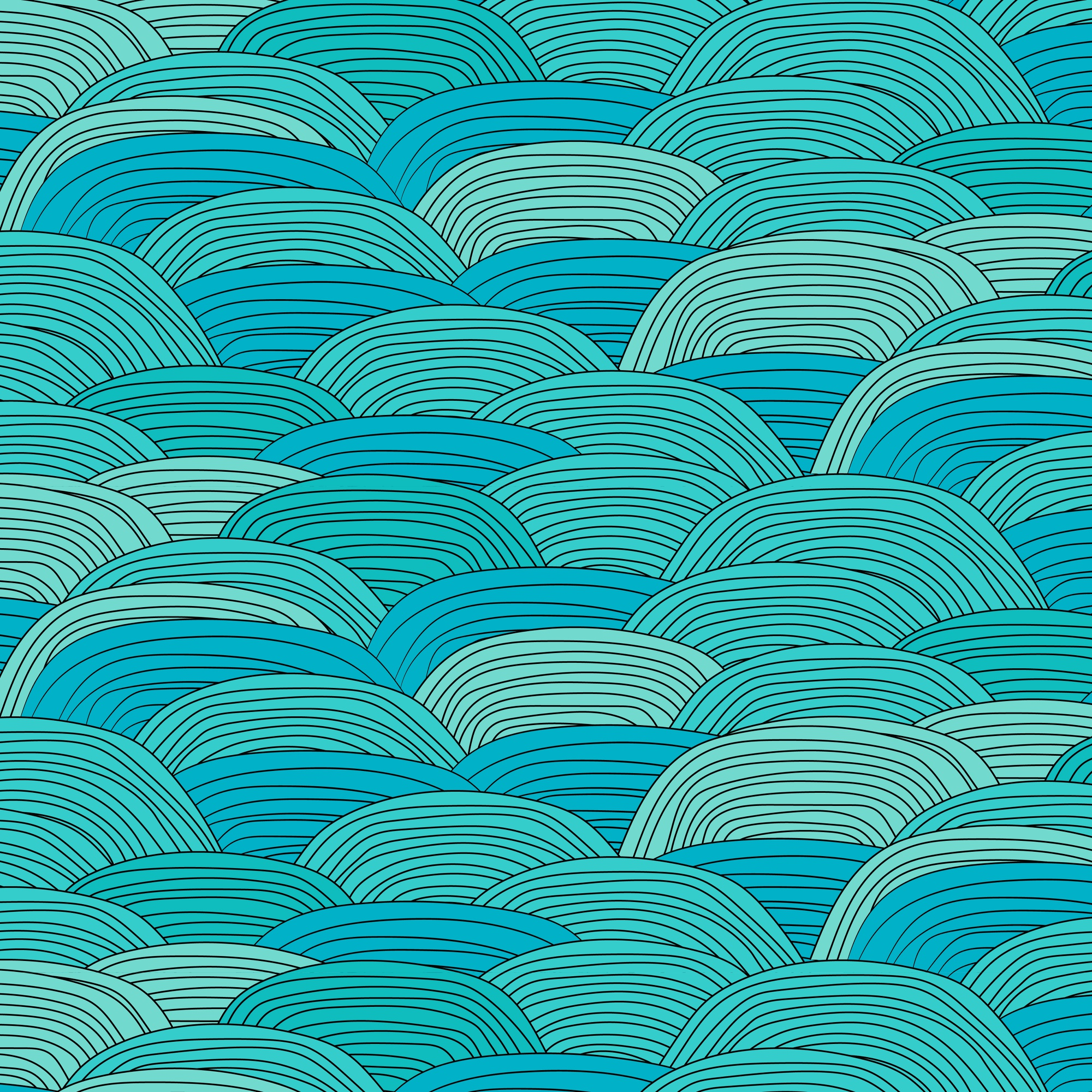 Blue Wave Pattern With Hand Drawn Background