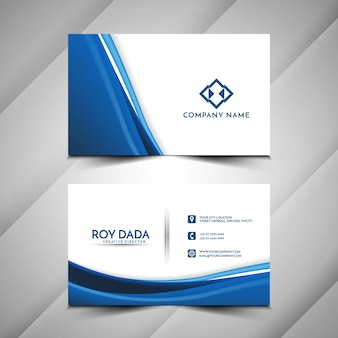 Blue wave stylish business card template