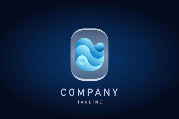 Blue wave water gradient logo
