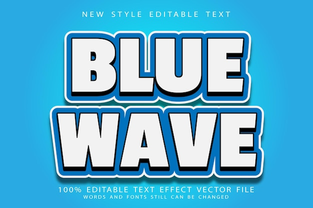 Blue wave wave editable text effect emboss modern style