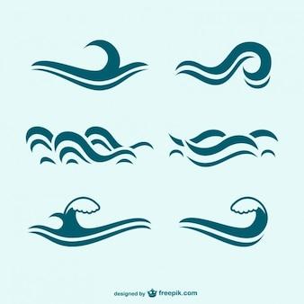 Синие волны значков