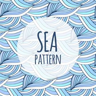 Blue waves vector repeating background. doodle sea pattern