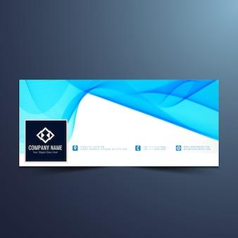 Blue wavy banner design for facebook timeline