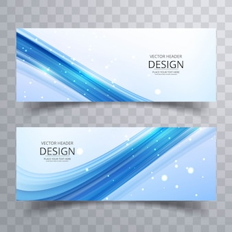 Blue wavy banners with sparkles