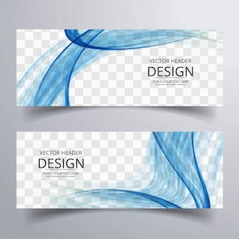 Синие волнистые баннеры