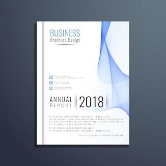 Blue wavy business brochure template design