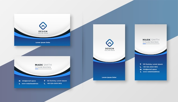 Blue wavy business card professional template design