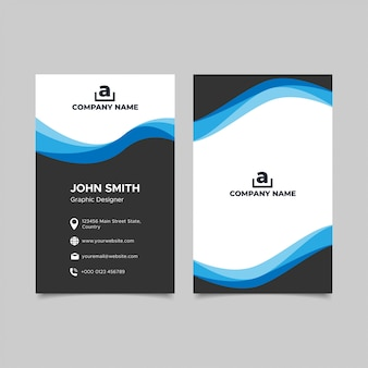Синий волнистый дизайн шаблона визитной карточки
