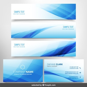 Blue wavy business stationery