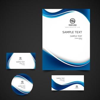 Blue wavy business stationery