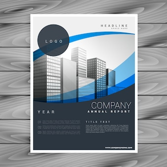 Blue wavy elegant company professional brochure design