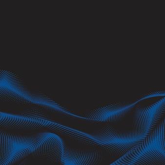 파란색 물결 모양의 하프 톤 검은 배경 벡터