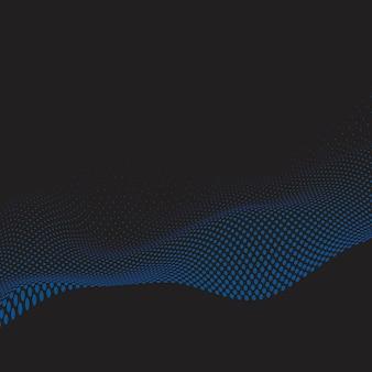 Blue wavy halftone black background vector