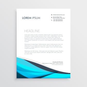 파란색 물결 모양의 편지지 디자인 서식 파일