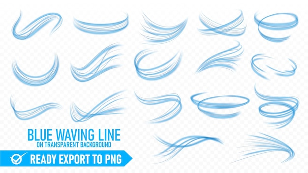 Blue wavy line set ready export to png file isolated and easy to edit