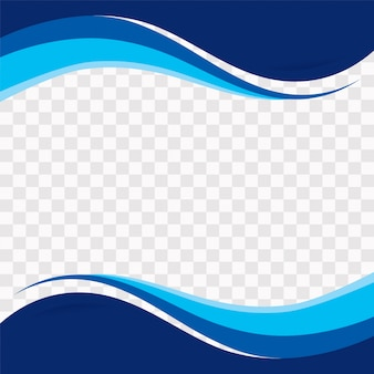 Blue wavy shapes on transparent background
